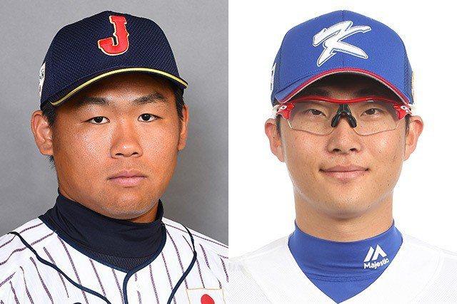 日本先發田口麗斗(左)對決韓國先發朴世雄。 擷圖自日本武士隊官網