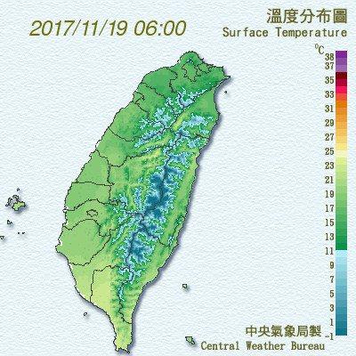 受東北季風影響,各地今晨低溫25度以下。圖/翻攝氣象局網站