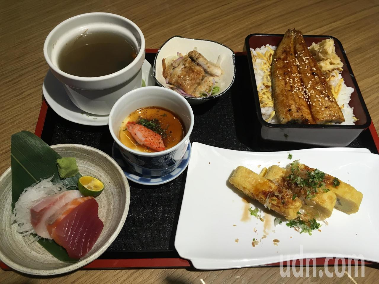 新竹「久保鰻作城」也吃到外銷日本同等級的鰻魚,圖為鰻魚套餐。記者張雅婷/攝影