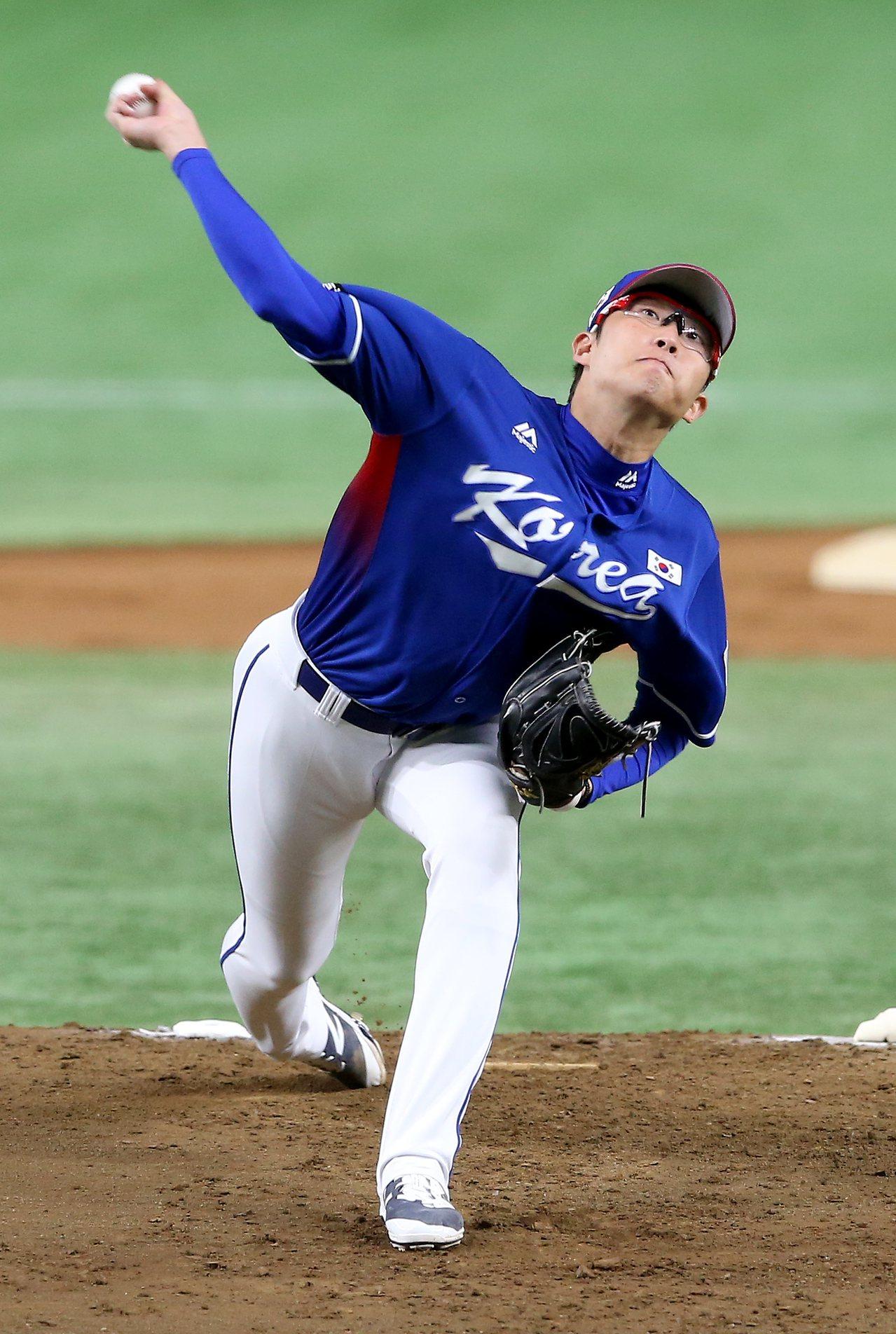 南韓隊先發投手朴世雄。記者余承翰/攝影