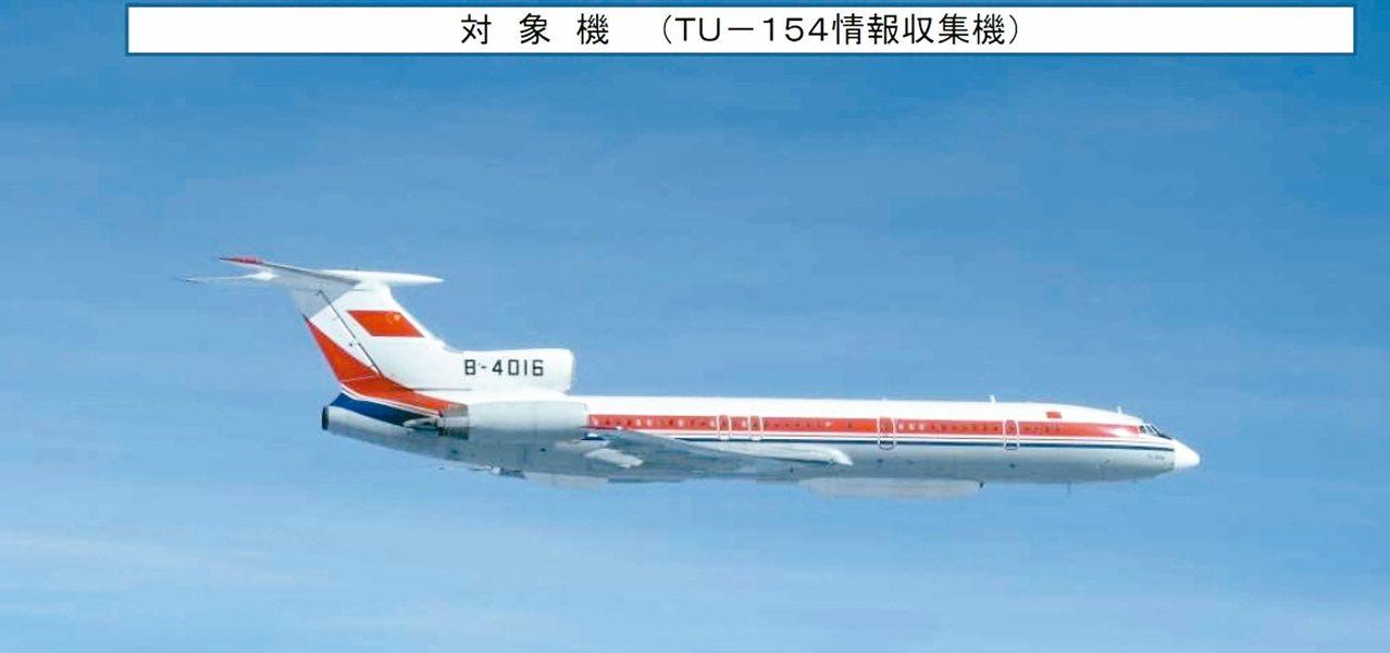 中共一架Tu-154電子偵察機飛越宮古海峽,執行「遠海長訓」,並繞越台灣東部空域...
