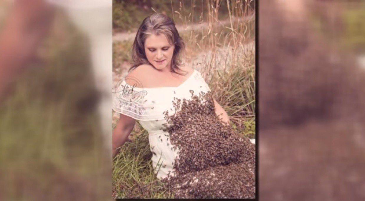 美國俄亥俄州孕婦米勒,懷孕期間拍下「萬蜂蓋肚」的照片,原以為可以歡慶孩子到來,不...
