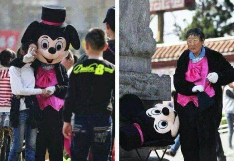 遊樂園的布偶帶給民眾歡笑,沒想到裡頭竟然是一位滿頭爆汗的阿嬤。圖/翻攝自爆料公社