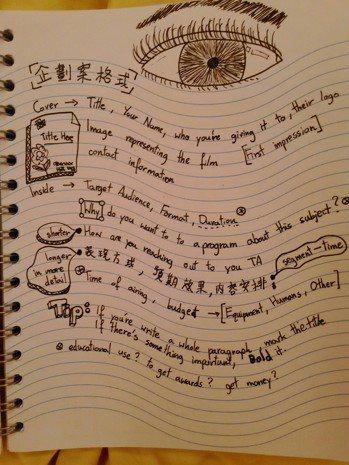 在世新大學上課的筆記很有創意 圖/商周出版授權提供