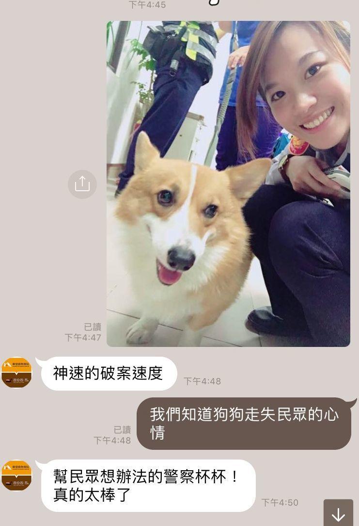 警方傳送疑似走失的柯基犬照片讓寵物店員供狗主人指認,讓狗狗重返主人懷抱。記者王昭...
