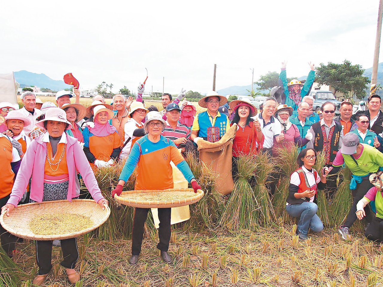 參與稻米收割活動的台東關山鎮民,開心拿著自己的成果展示。 記者潘俊偉/攝影