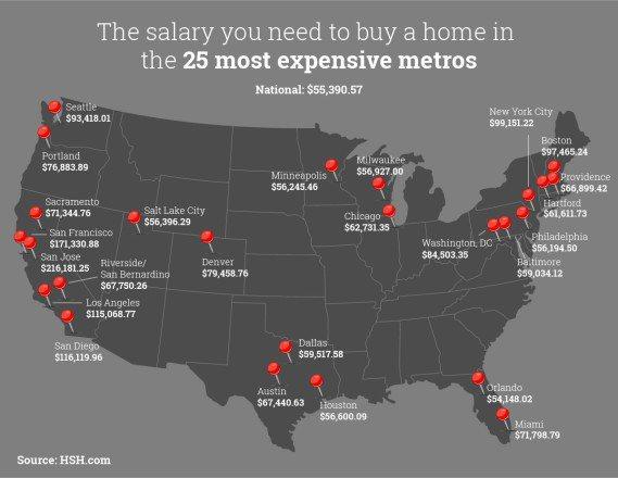 HSH.com網站的這幅地圖說明了全美25個最昂貴的房屋市場,由聖荷西和舊金山領...