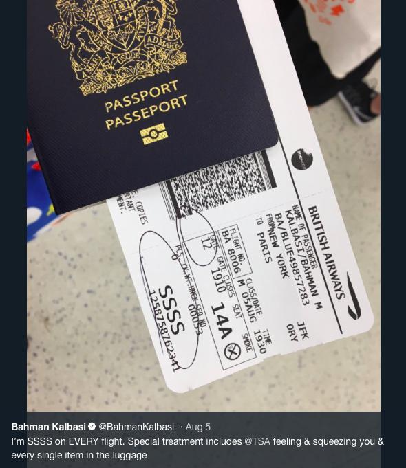 BBC記者Bahman Kalbasi在Twitter上po出自己的登機證,和上...