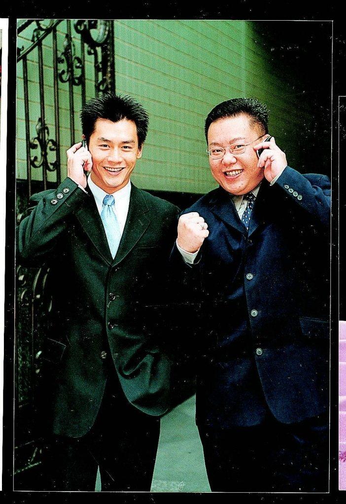 葉民志(左)當年和沈世朋演出廣告,一個扮老鳥,一個扮菜鳥而出道。本報資料照