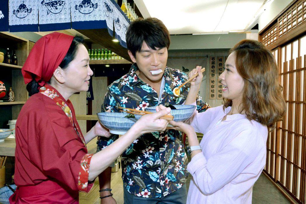 張瓊姿(左起)、李政穎、林玟誼演出「春風愛河邊」。圖/華視提供