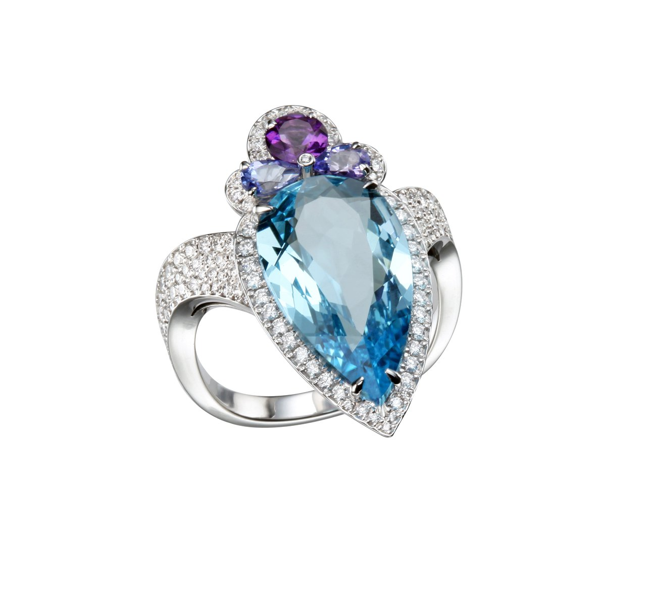 Temptations系列戒指,18K白金鑲嵌6.55克拉梨形切割托帕石、紫水晶...