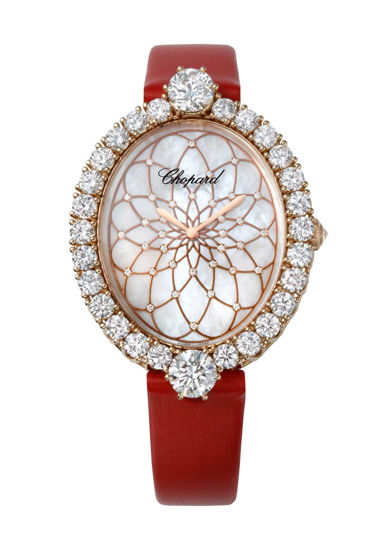 L'Heure du Diamant系列腕表,18K玫瑰金鑲嵌總重2.02克拉鑽...
