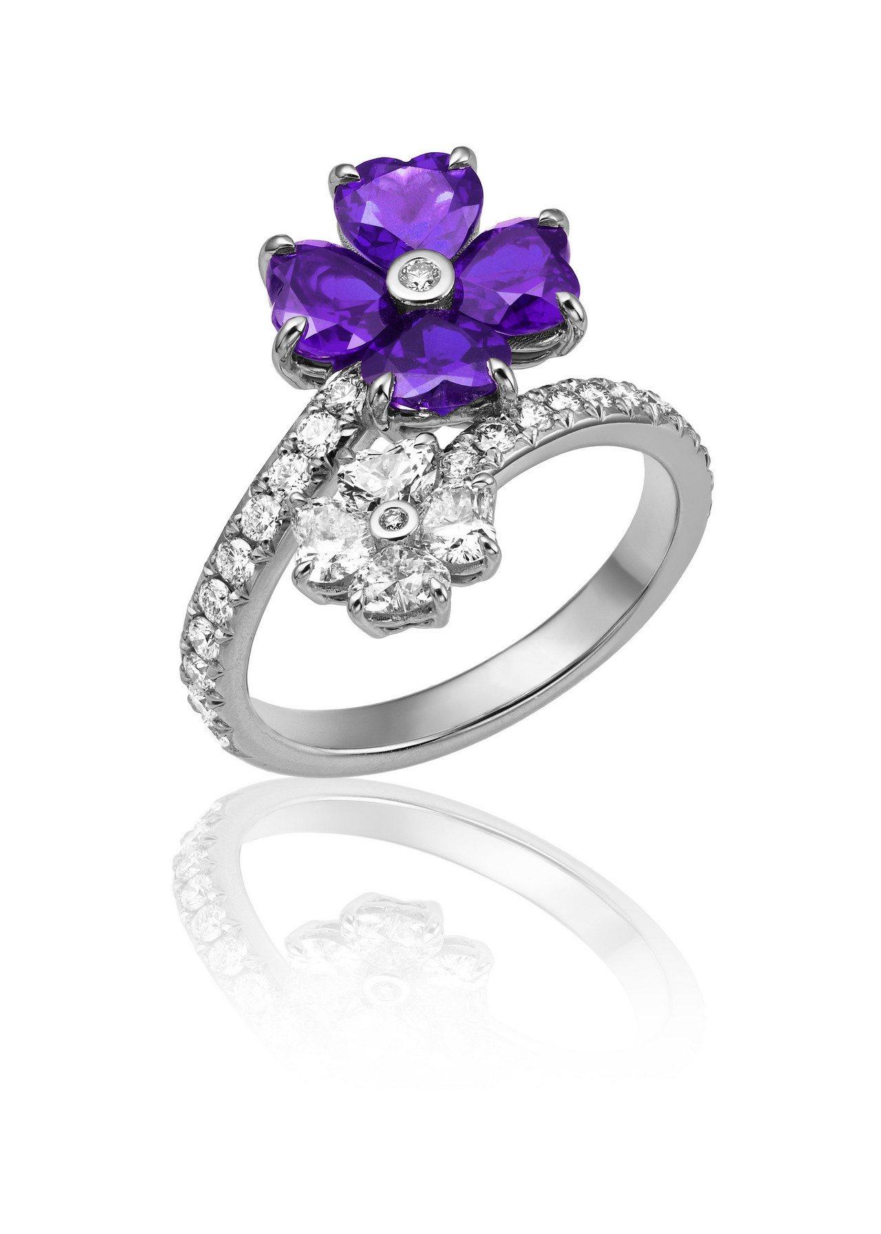 Precious Chopard系列戒指,18K白金鑲嵌鑽石與4顆紫水晶,32萬...