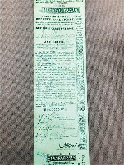孫中山1911年在美國使用的火車票