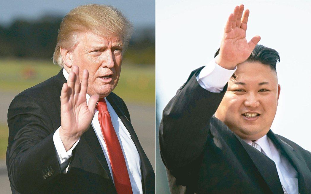 川普(左)再度對北韓加強制裁,恐怕會引起金正恩(右)的強力反彈。 法新社