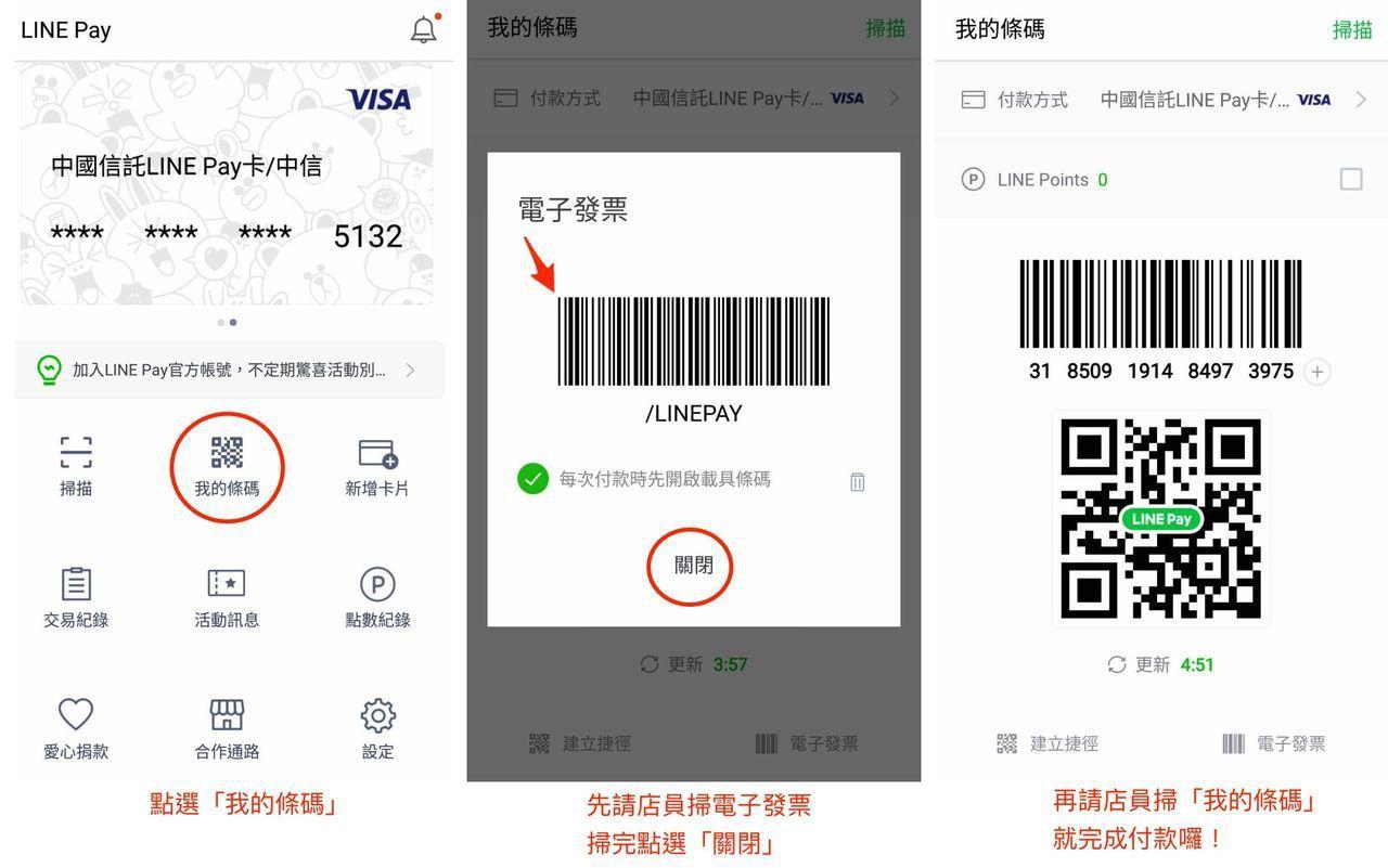 結帳時,先讓店員掃電子發票再付款。 圖擷自LINE台灣官方部落格