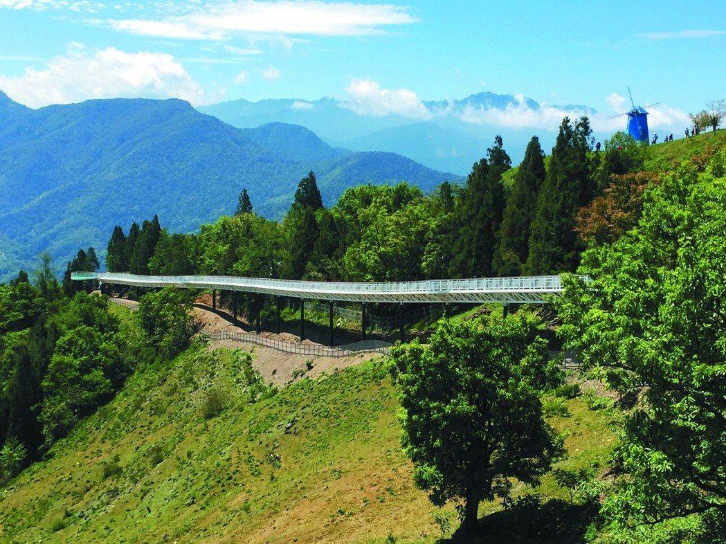 南投清境高空觀景步道,如同白龍迤邐在青山林梢間。 報系資料照片