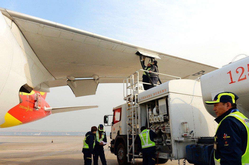 在北京首都國際機場,工作人員為海南航空HU497航班的波音787客機加注由餐飲廢...