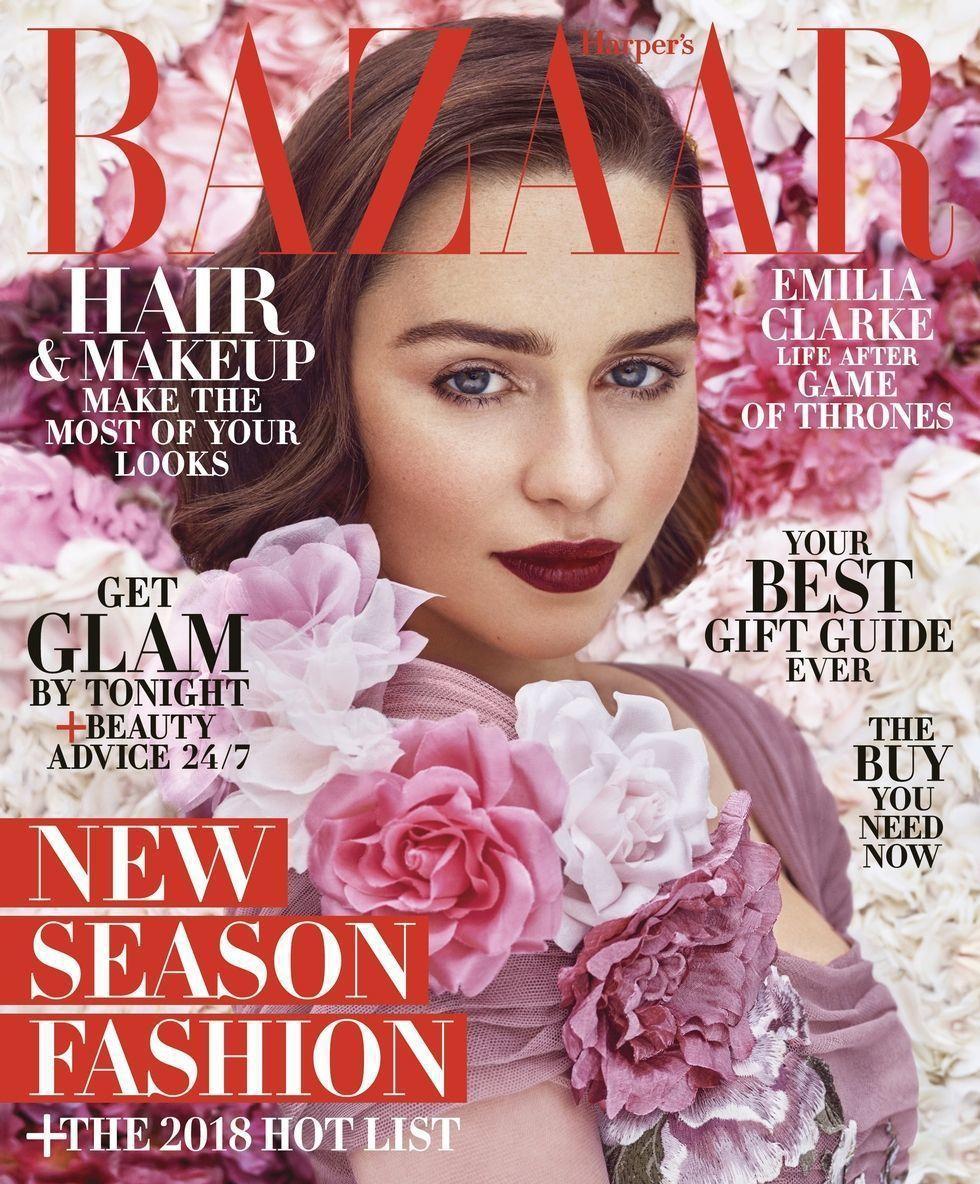 艾蜜莉亞克拉克登上時尚雜誌封面。圖/摘自Harpers Bazaar