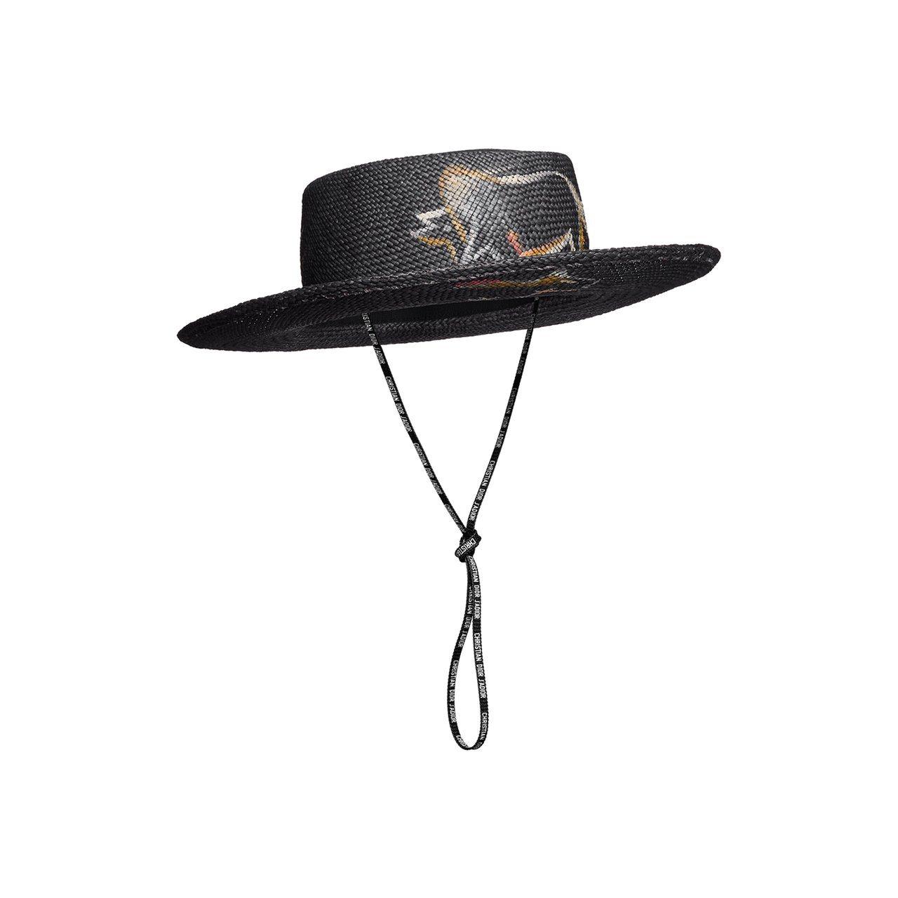 黑色手繪水牛圖騰草帽,售價36,000元。圖/Dior提供