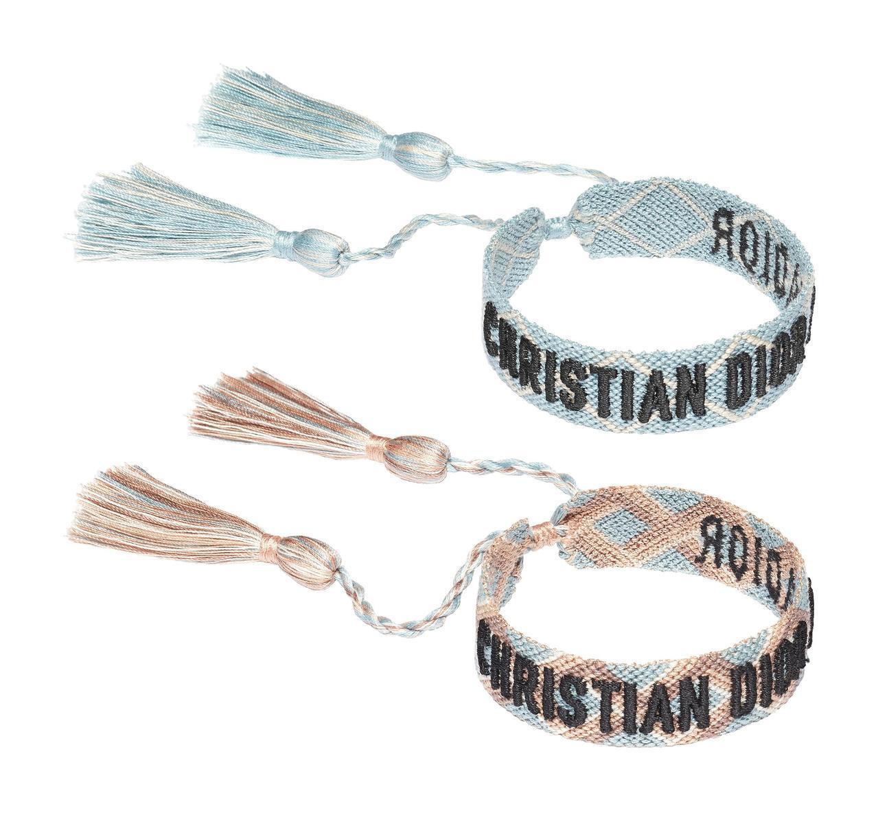 J'adior藍色、粉藍編織手環(2副1組),售價8,200元。圖/Dior提供