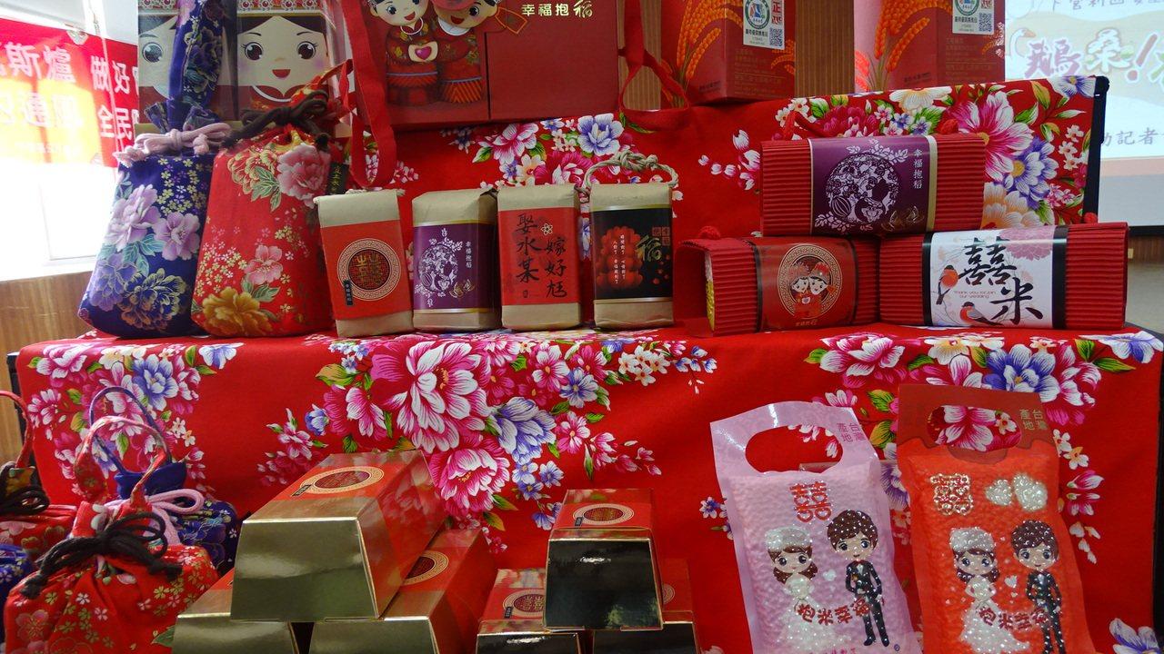 各類包裝的米,呈現在地創意。記者謝進盛/攝影