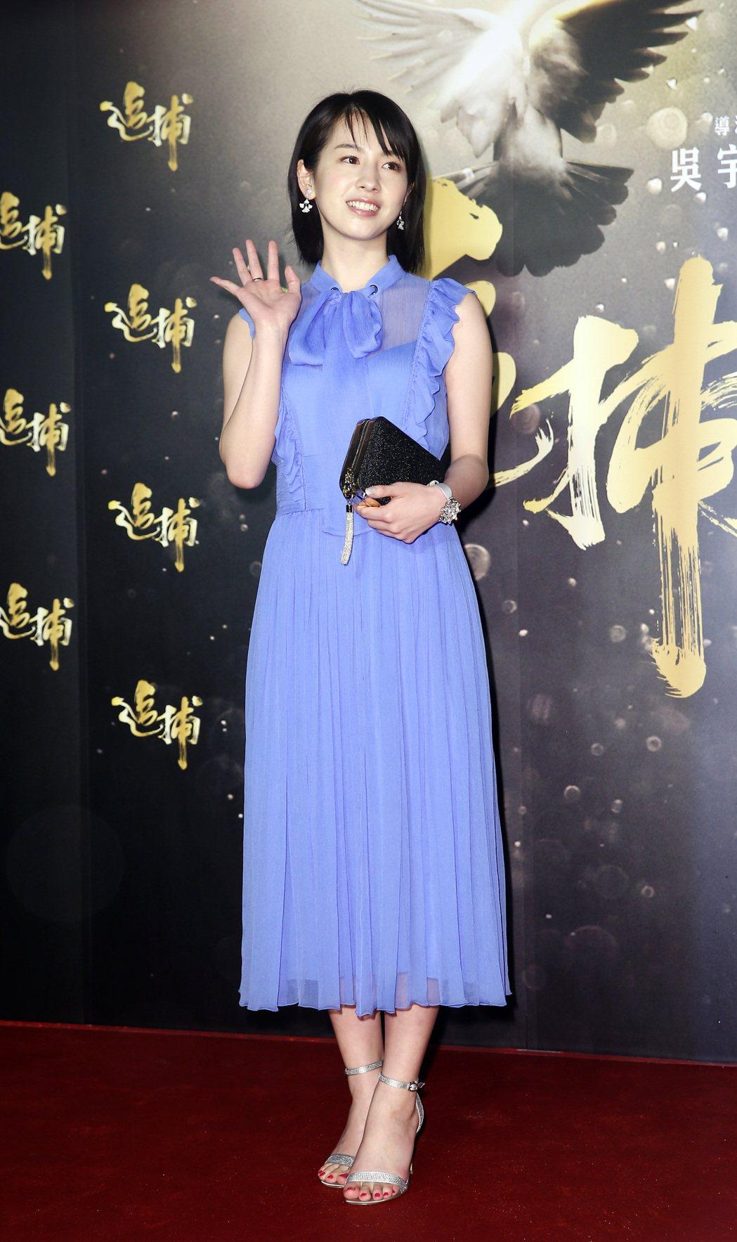 《追捕》晚間在台北舉辦電影首映會、日本人氣新星櫻庭奈奈美到場為新片宣傳。記者杜建...