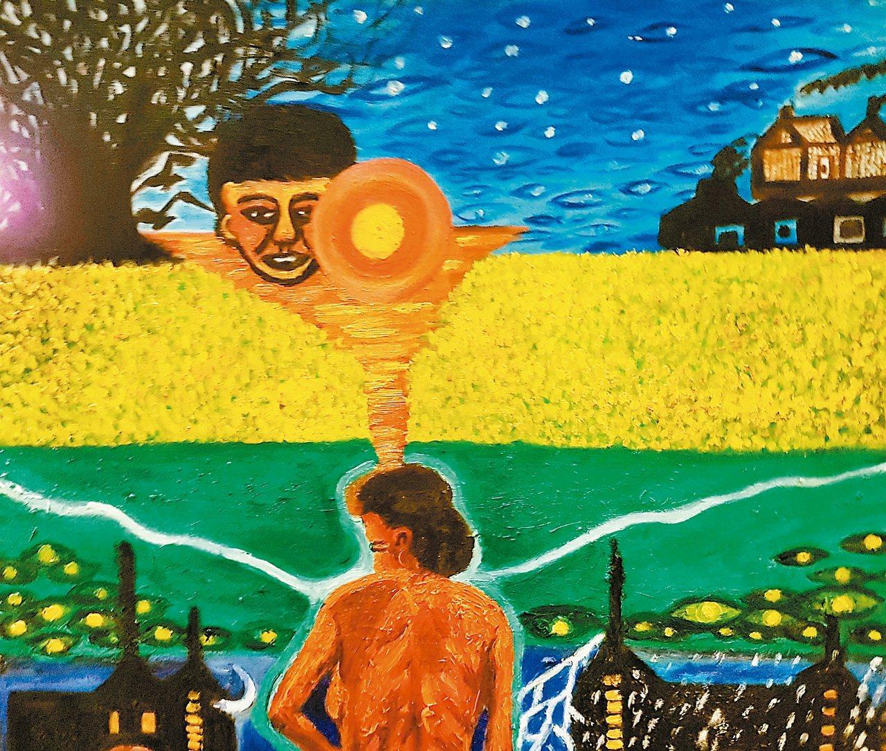 鍾文音畫作〈雲林,我的父土母水〉。 鍾文音.圖片提供