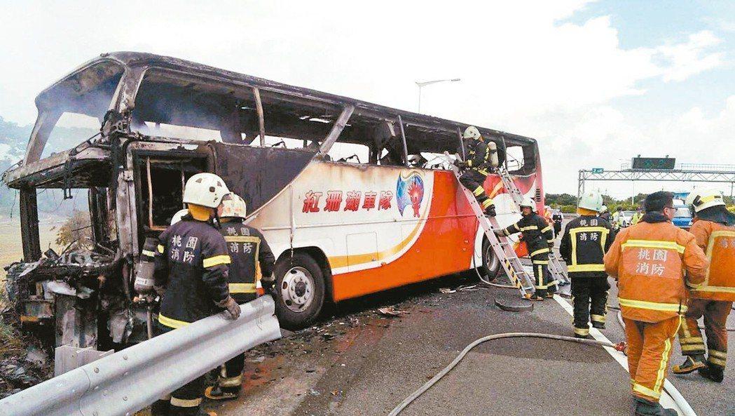 國道火燒車奪走26條人命,肇因竟是司機自焚。本報資料照片