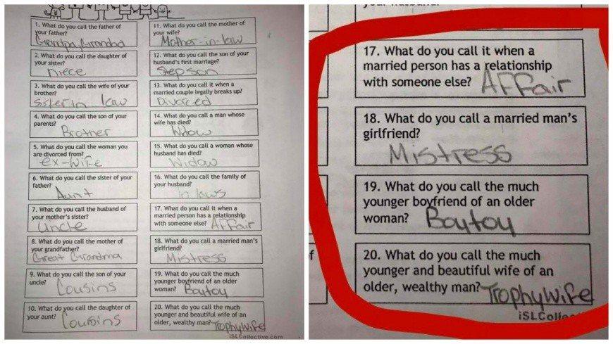 美國一所中學給學生出的作業內容太露骨,引發家長反彈。 圖/擷取自臉書