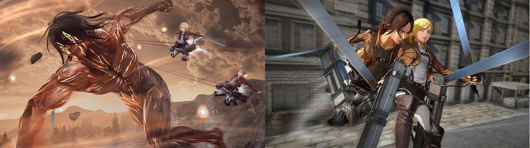 左:【巨人化】巨人化的艾連打垮敵方巨人/右:【救援】救出被巨人抓住的玩家