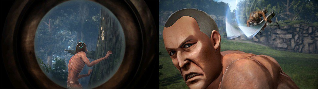 左:使用望眼鏡在一定時間內用肉眼捕捉到巨人/右:朝無防備的巨人進行奇襲攻擊
