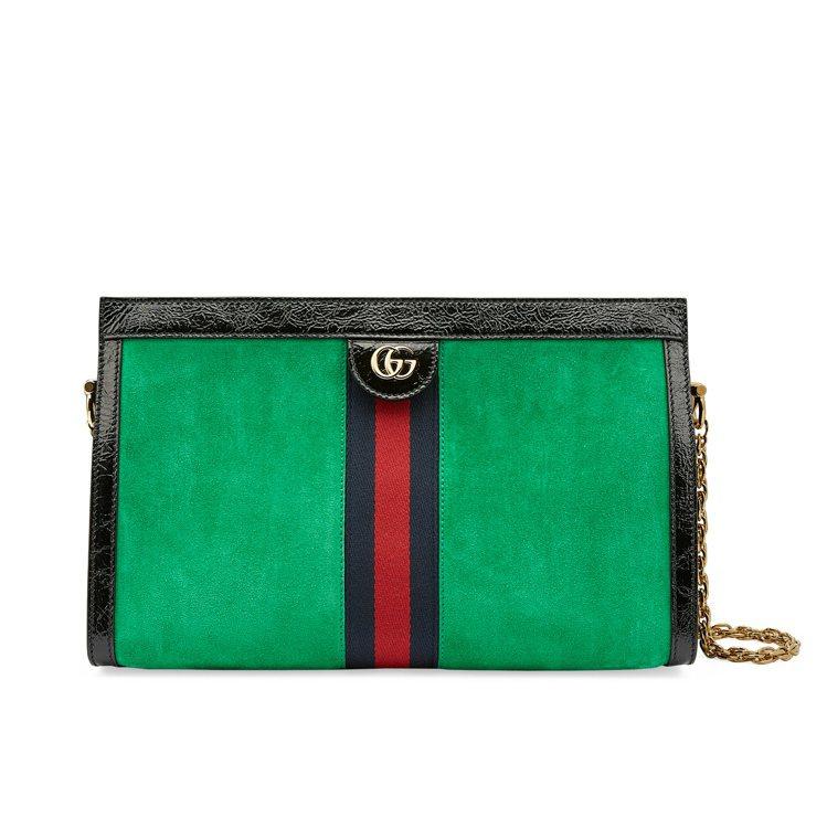 Ophidia綠色麂皮鍊帶包,76,100元。圖/Gucci提供
