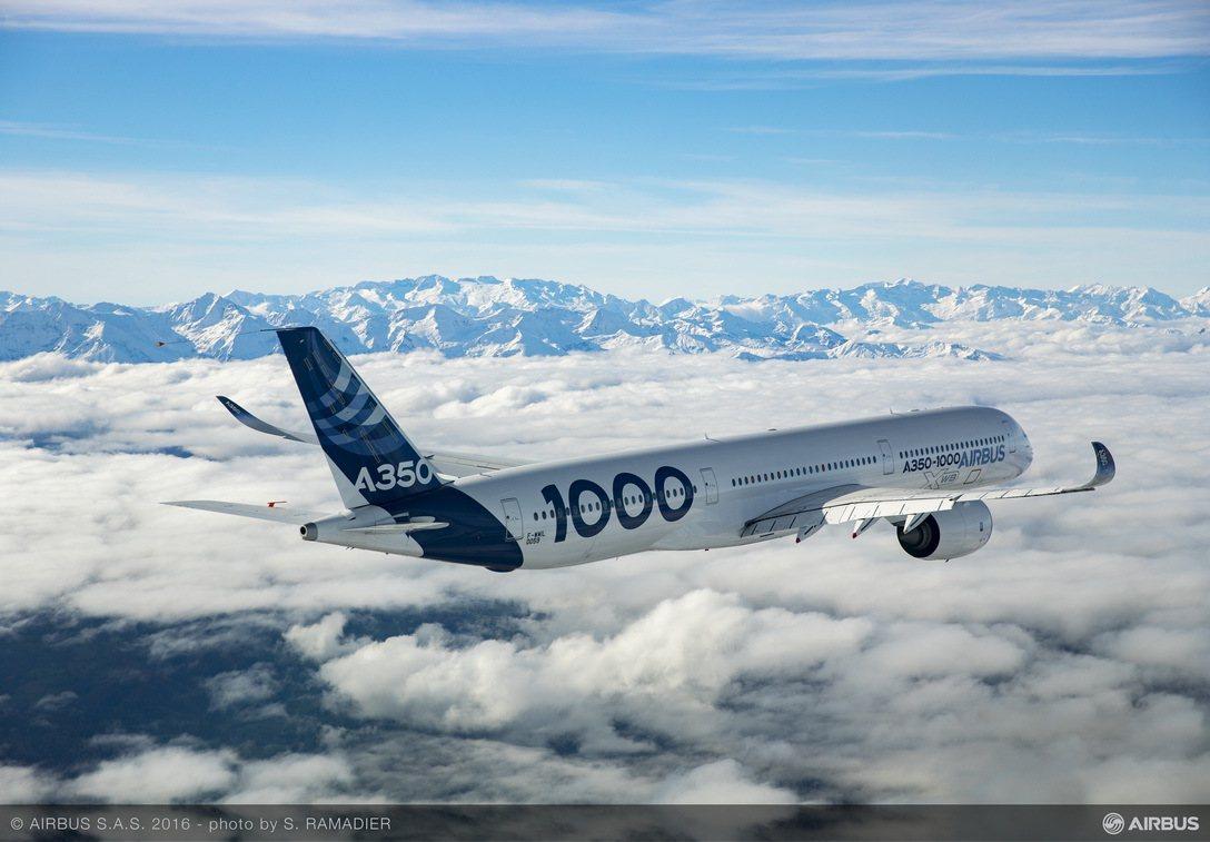 空中巴士A350-1000已獲得歐洲飛安署(EASA)與美國聯邦航空管理局(FA...