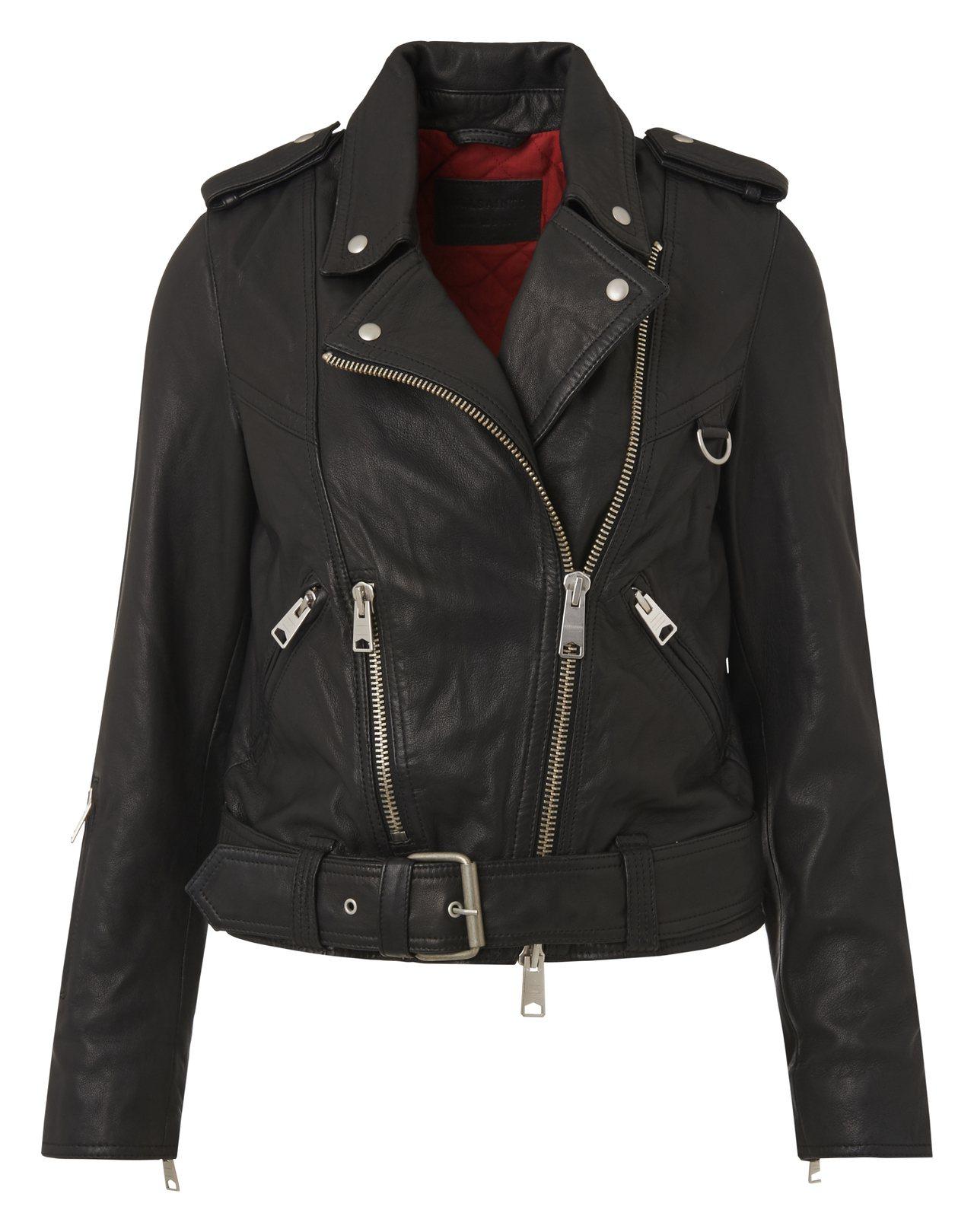 秀智款AllSaints Gidley羊皮騎士夾克,售價21,500元。圖/Al...