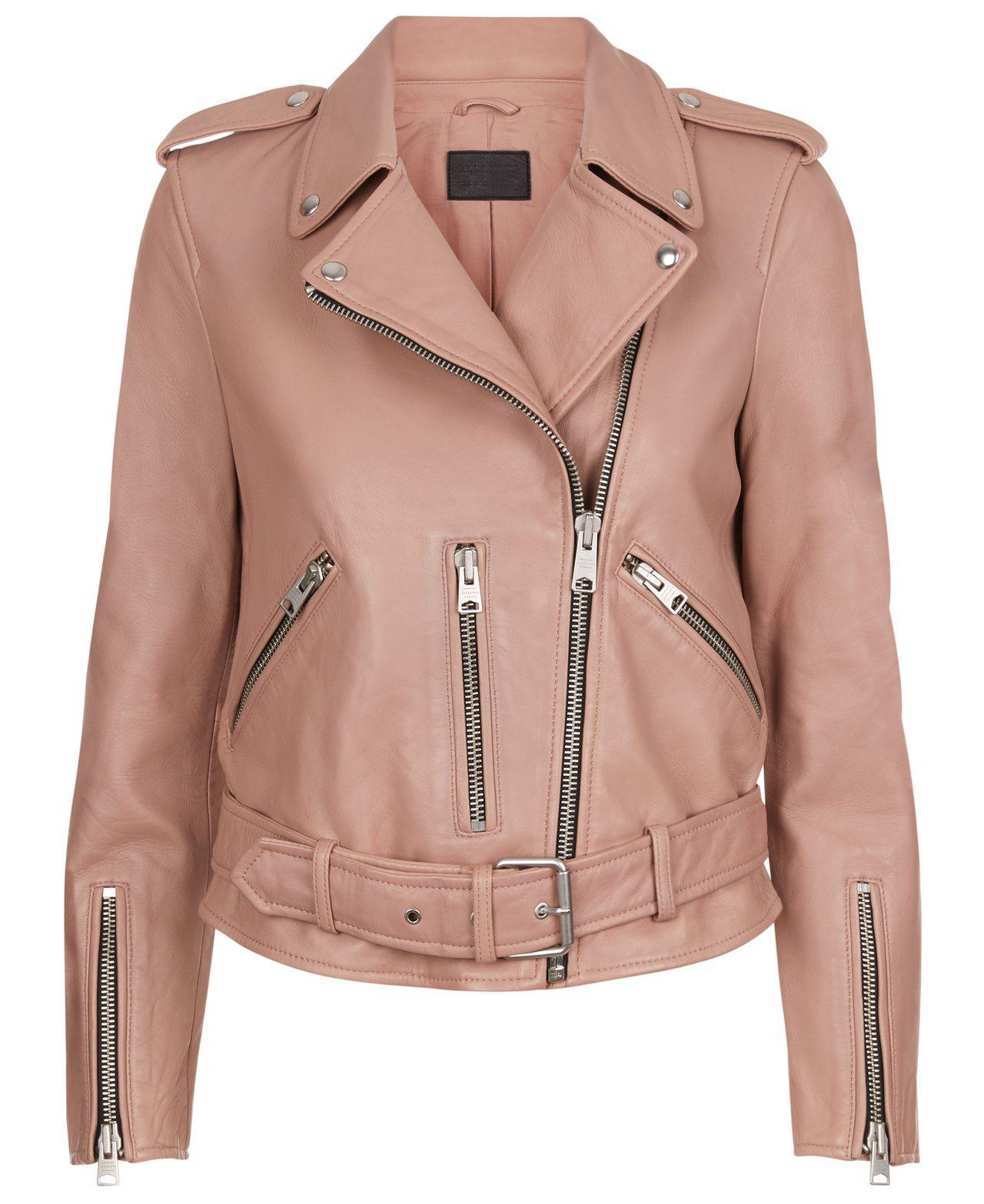 凱特溫絲蕾款AllSaints Balfern粉色騎士夾克,售價17,900元。...