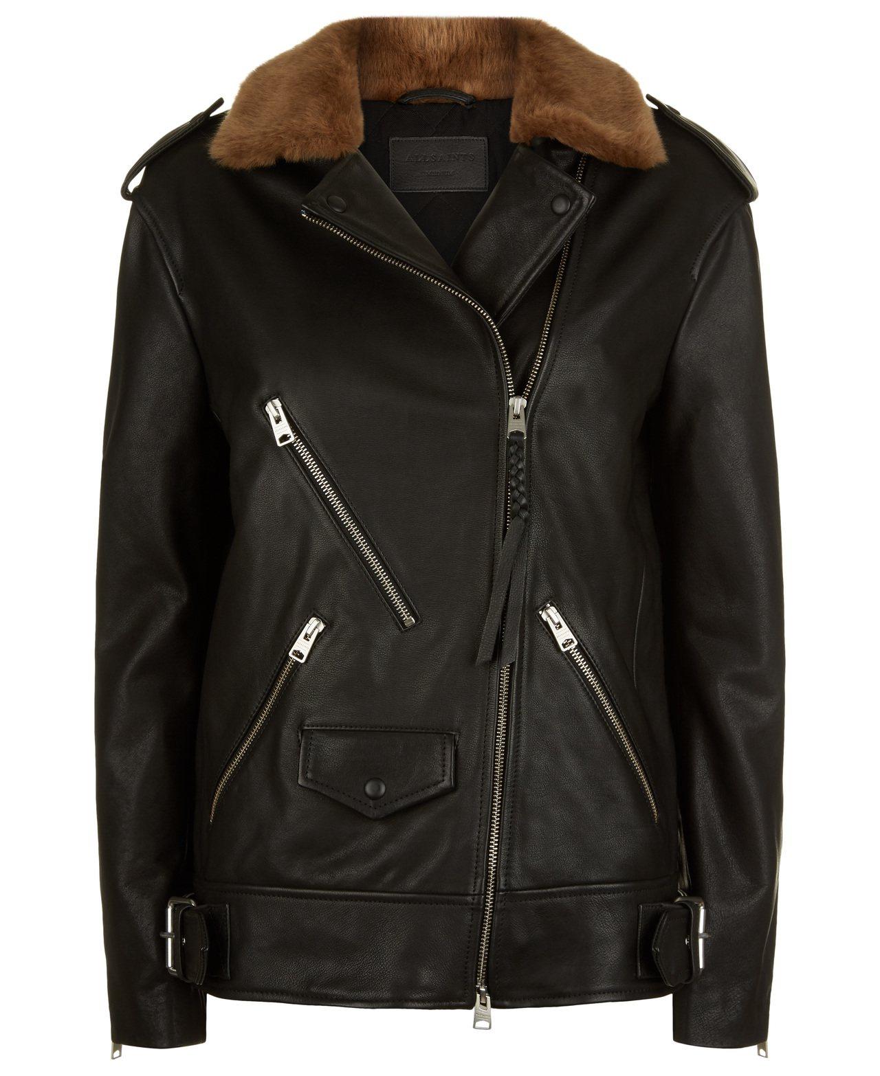周子瑜款AllSaints Sherwood翻毛領騎士夾克,售價23,900元。...