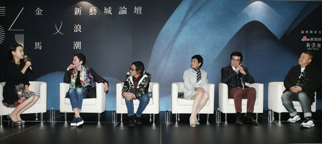 曾寶儀(左起)、施南生、泰迪羅賓、張艾嘉、黃百鳴與曾志偉昨天出席新藝城聯訪。記者...