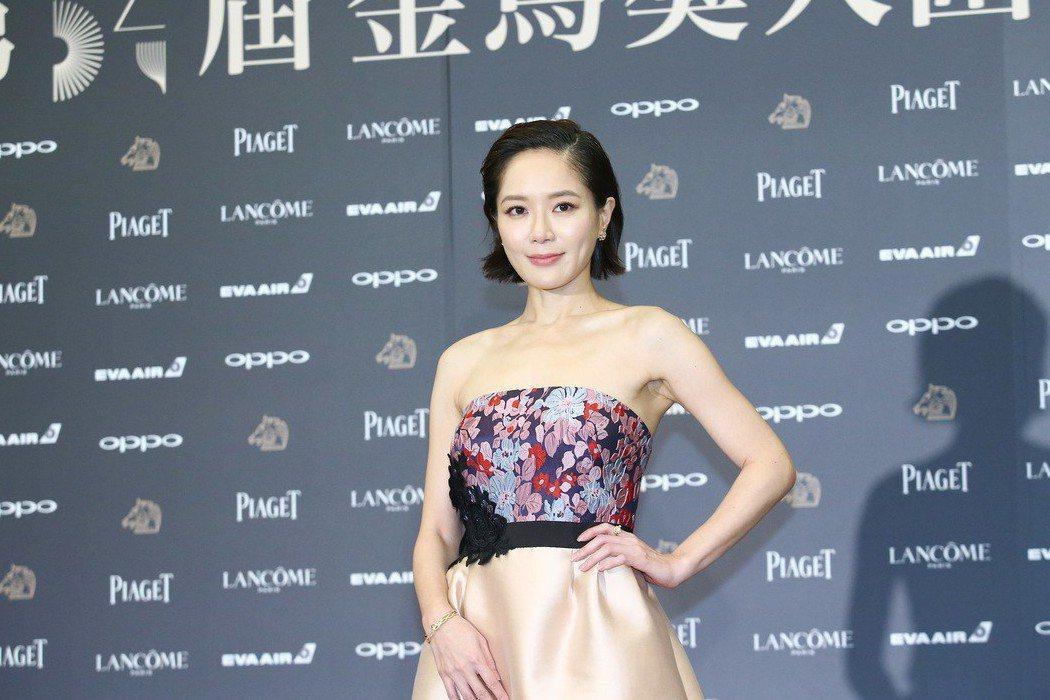 入圍金馬獎最佳女主角獎的尹馨出席入圍酒會。記者王騰毅/攝影