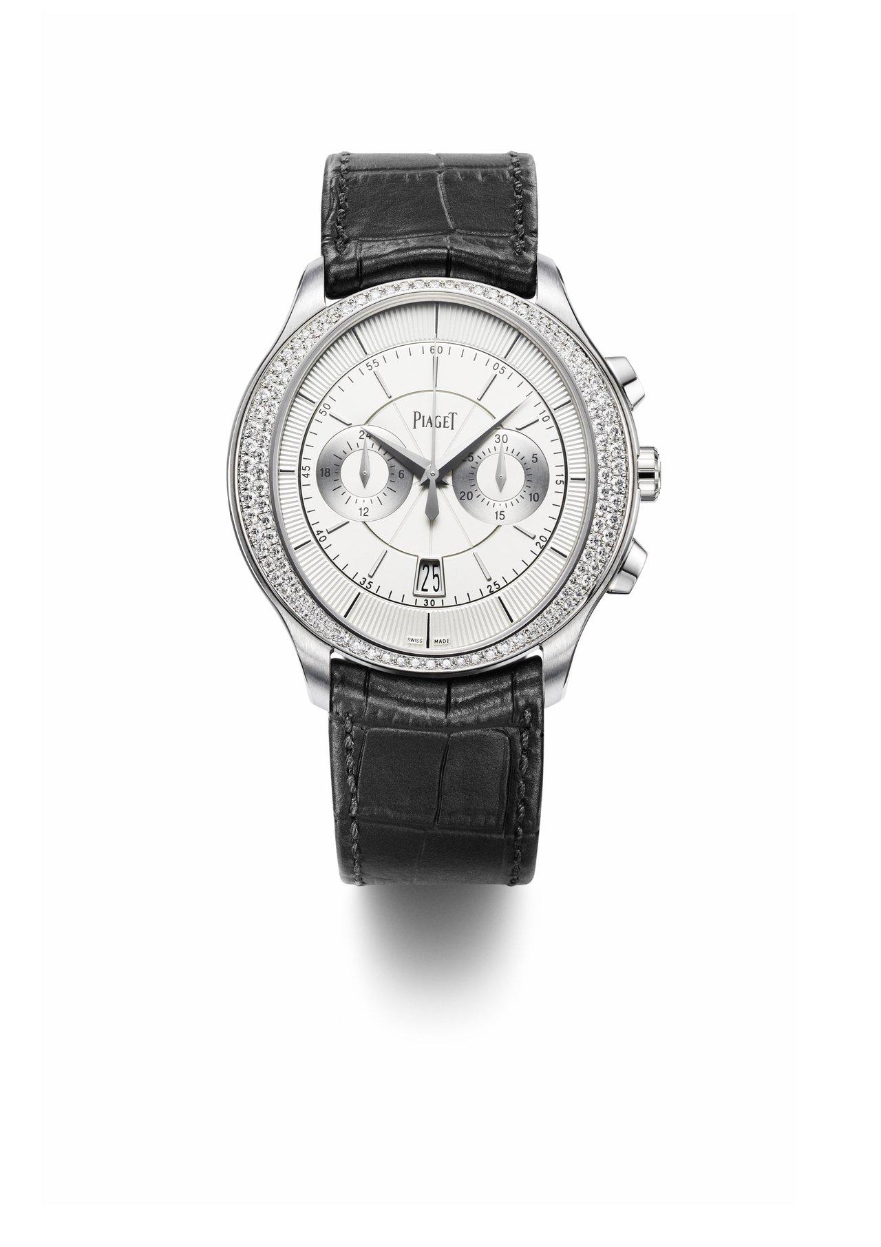 崔始源和胡兵配戴的Gouverneur 18K白金鑽石計時腕表,43毫米白金鑲鑽...