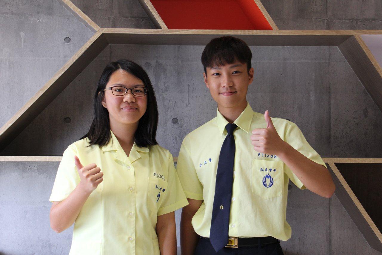 弘文中學學生王怡茹(左)與余杰聖(右)日前代表學校參加台中市勞工局舉辦的「挑戰勞...