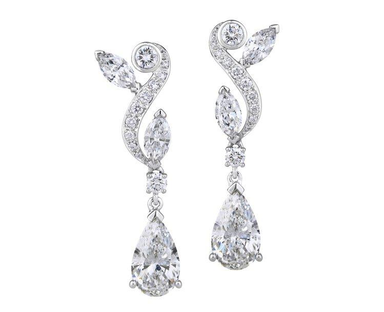 De Beers Adonis Rose 垂墜式梨形鑽石耳環,158萬5,000...