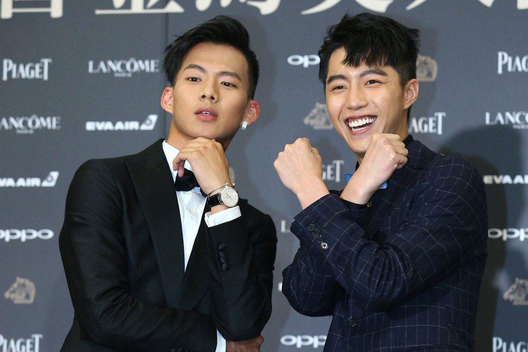 入圍金馬獎最佳新演員獎的吳念軒(左)、蔡凡熙出席入圍酒會。記者王騰毅/攝影