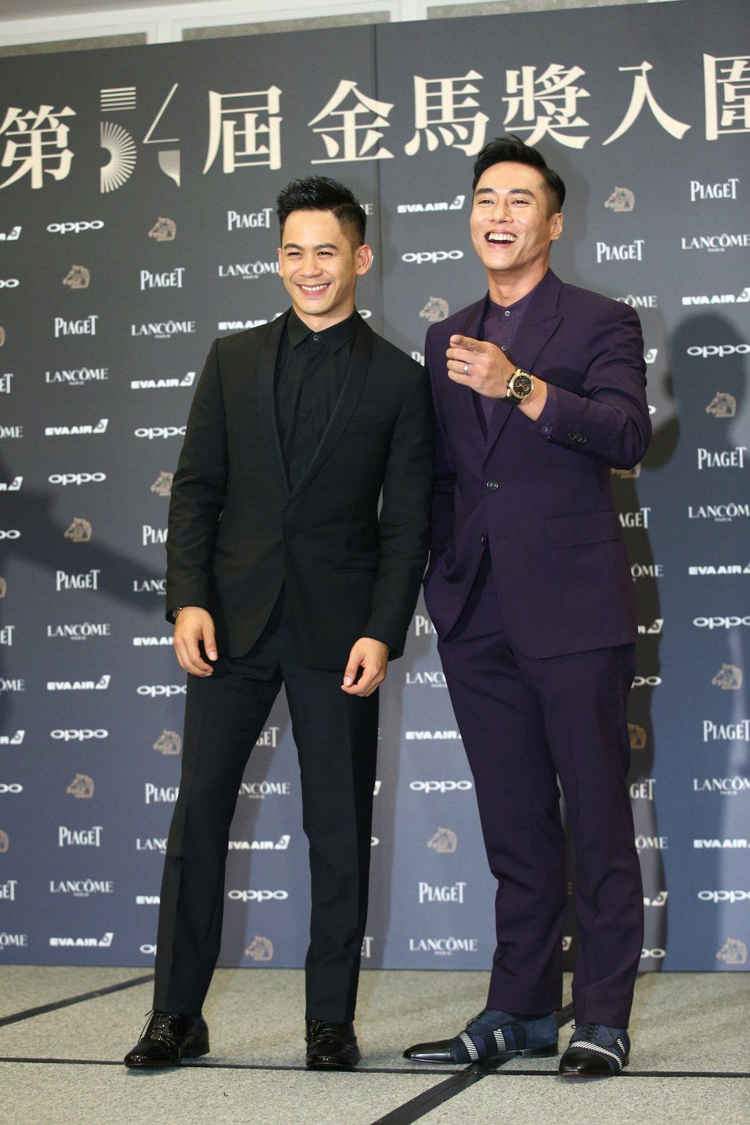 入圍金馬獎最佳男主角獎的莊凱勛(右)、入圍男配角獎的李淳(左)出席入圍酒會。記者