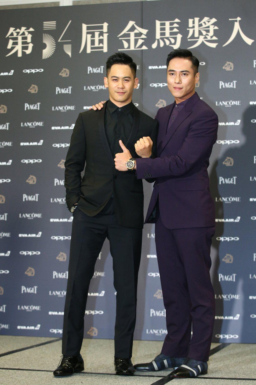 入圍金馬獎最佳男主角獎的莊凱勛(右)、入圍男配角獎的李淳(左)出席入圍酒會。記者...