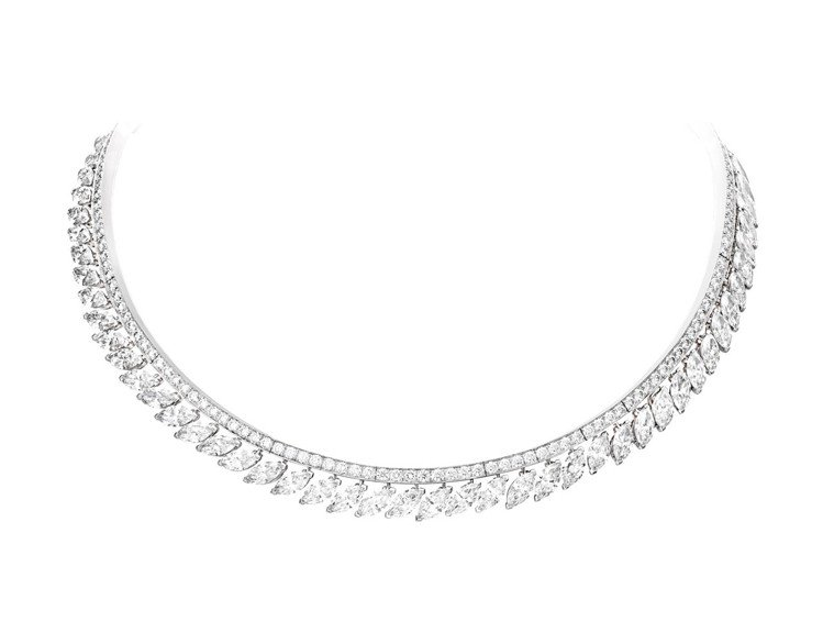 Extremely Piaget 系列高級珠寶項鍊,18K白金,鑲嵌46顆共約2...