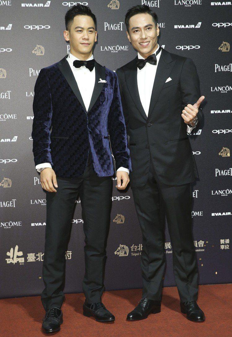入圍第五十四屆金馬獎最佳男主角獎的莊凱勛(右)與入圍第五十四屆金馬獎最佳男配角獎...