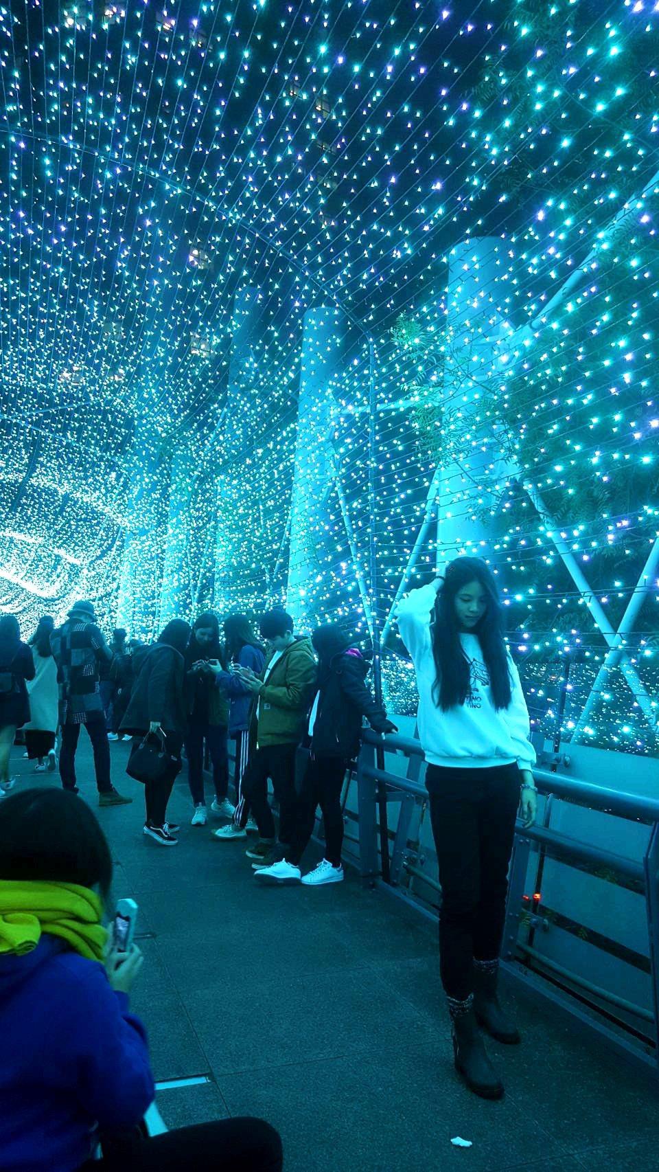 在漾著浪漫藍光的隧道中,處處可看見民眾駐留拍照。記者陳睿中/攝影