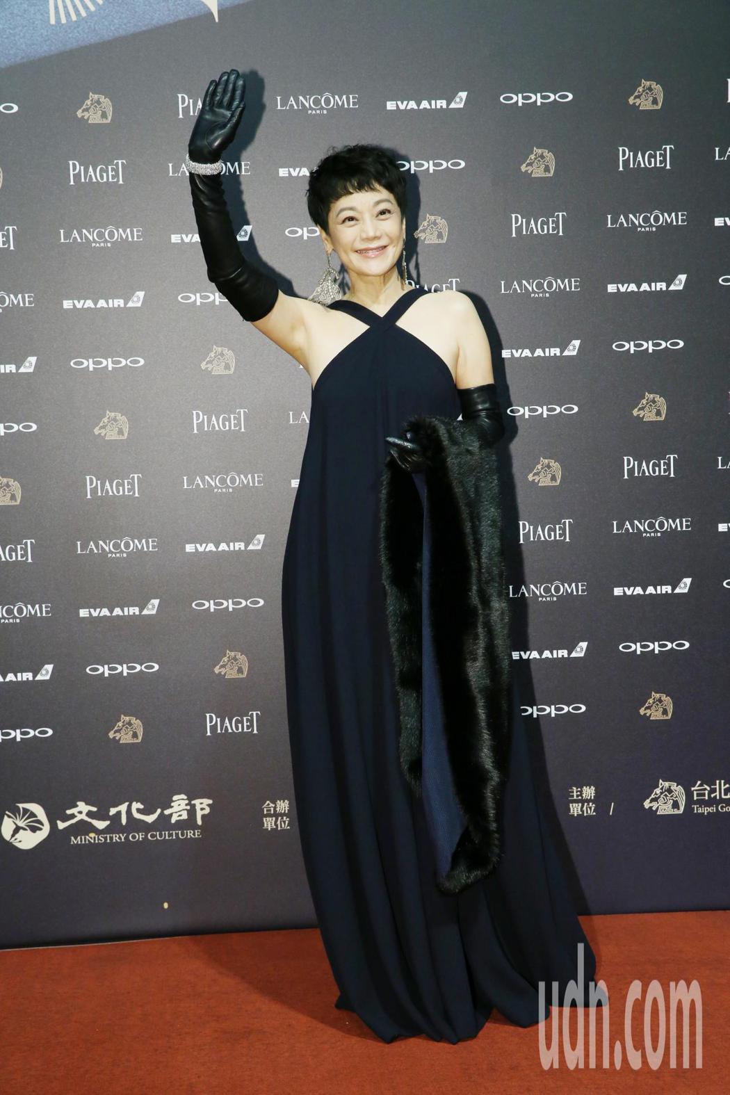 入圍第五十四屆金馬獎最佳女主角、導演、原著劇本的金馬執委會主席張艾嘉走紅毯。記者...
