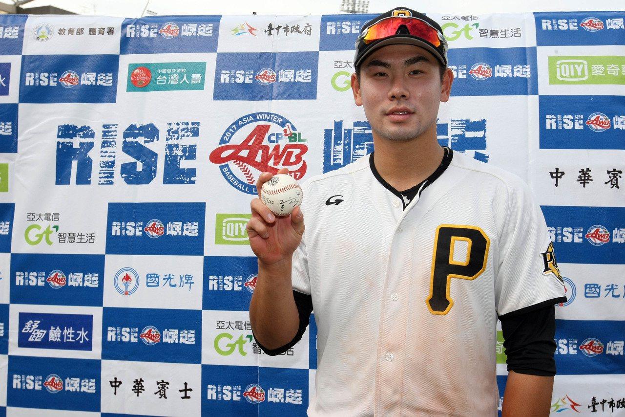 韓職聯隊洪昌基單場3安,獲選單場MVP。圖/中職聯盟提供